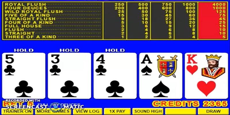 deuces wild video poker game play