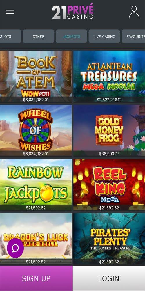 21 Prive Casino Login